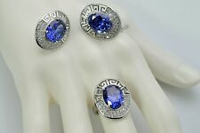 Tanzanite 12X10mm Oval Ring And Earrings Set .925 Sterling Silver, Ring Size 7.5