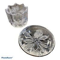 "Studio Nova  Crystal Poinsettia Dish w/SilverTrim - 5 1/8"" w/ matching Votive"