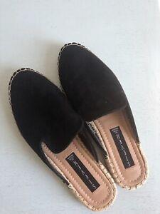 STEVEN by Steve Madden Suede Mules Slides Slip on Shoes Black Size 6.5