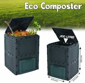 300L Compost Bin Aerated Food Waste Kitchen Garden Recycling Eco Composter Black