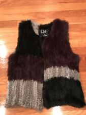 525 America Luxe Unique Real Fur Vest Size Small NWOT