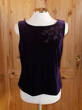 ANN BROOKS purple stretch velvet camisole vest tunic top floral bead party 14 42