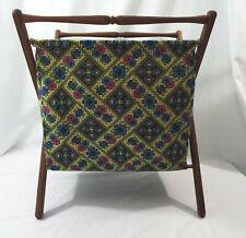 Vintage Fabric Yarn Caddy Wood Frame