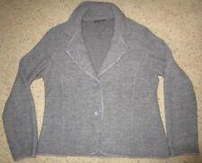 JANE ASHLEY Jacket Blazer Sweater Wool Blend L/Sl Gray Button up Women's Size L