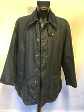 BARBOUR BORDER DARK BLUE WAX COTTON JACKET SIZE 46 WITH NEW WARM PILE LINING