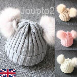 Baby Boy Girls Winter Warm Double Fur Pom Bobble Knit Beanie Hat Cap Hot Kids