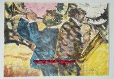 TALANI GIAMPAOLO litografia +cornice Jazz band musicisti musica quadro grecoarte