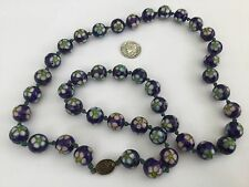 """Beautiful 29"""" L Sterling Silver And Cloisonné Beaded Vintage Necklace!"""