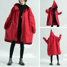 Womens Overcoat Windproof Hoodie Hooded Coat Jacket Cape Pointed Hat Oversize