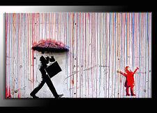 QUADRO MODERNO  BANKSY color rain DIPINTO A MANO OLIO SU TELA STREET ART