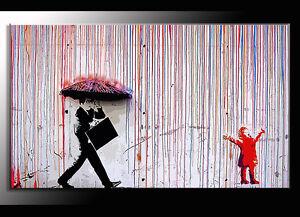 QUADRO MODERNO  BANKSY color rainA STREET ARTM PRODOTTO ITALIANO