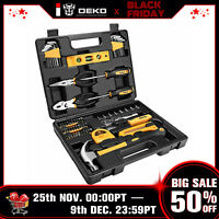 DEKO 65 Piece Tool Set General Household Hand Tool Kit w Plastic ToolBox Case