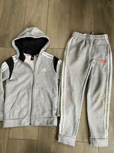 Boys Grey Hooded Adidas 2 Piece Tract Suit Age 9-10 Years