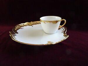 Set of 4 Vintage Bone China Limoges Snack Luncheon Cup & Plate Sets, Gold Trim