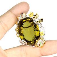 Handmade Oval 68.62ct Olive Quartz Emerald Sapphire 925 Sterling Silver Brooch