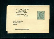 LOT 89271 WRAPPER  USED W20 KING GEORGE V1 THE BARCLAY (CANADA) WHOLESALER