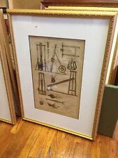 OUTSTANDING 18TH CENTURY FRAMED ENGRAViNG-DIAGRAM OF PILE DRIVER--------sh