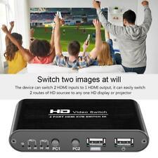 2 Port HDMI KVM 4K Switcher Splitter for Sharing Monitor Keyboard Mouse Mice
