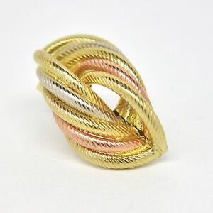3 Colour Twist Stud Earrings - 9ct Yellow/White/Rose Gold - 26mm
