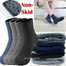 3-12 Pairs Mens Cozy Fuzzy Winter Soft Warm Non Skip Slipper Crew Socks 10-13