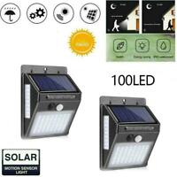 100LED Solar Power Light PIR Motion Sensor Security Outdoor Garden Z Wall L R4B2