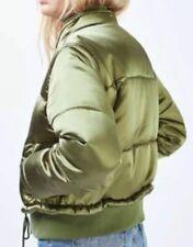 Topshop Green Satin Shiny Khaki Padded Puffa Puffer Quilted Jacket Coat Size 10