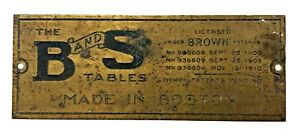 Original Antique Brass Name Plate B and S (Brown) TABLES Boston MA Tag salvage