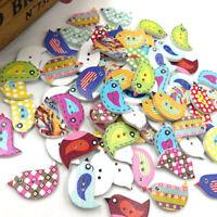 100pcs  2 Holes Mixed Birds Wooden Button Sewing DIY Craft Scrapbooking WB530