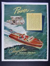 1947 Chrysler Marine Engines wood power boat illustration art vintage print Ad