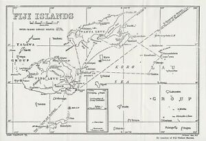 Pair of 1940's Maps of South Pacific Islands of Fiji (Reprints of Earlier Maps)