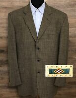Joseph Abboud Men's Wool Brown Black Three-Button Blazer Sport Coat Jacket 44L