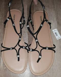 Torrid black jeweled gladiator sandals, Women's size 13W