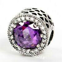 Authentic Pandora 791725 Silver 925 ALE Clear Purple Radiant Hearts Charm #Z