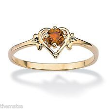 WOMENS 14K GOLD BIRTHSTONE CITRINE GP HEART SHAPE RING SIZE  5 6 7 8 9 10