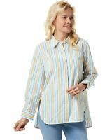 Denim & Co. Womens Yarn Dyed Stripe Stretch Poplin Big Shirt Large Gold A352966