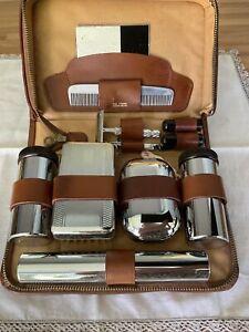 Vintage Mens Grooming Kit Zipped Leather Case Gillette Razor Mirror Comb Shaving
