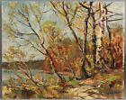 WILLIAM FRAHME Impressionist Autumn Fall Landscape Oil Painting Florida Artist