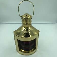 "Ship Port Gold 12"" Lantern Lamp Masthead Red Lens, Pirate, Hanging"