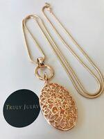 UK Ladies Designer Statement Long Rose Gold Oval Pendant Necklace Jewellery Gift