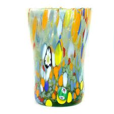 Murano Glass Drinking Glass Tumbler Green Orange Red Hand Made Millefiori