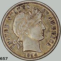 1914-D 10c Barber Dime. Higher Grade, BU, Almost Uncirculated AU