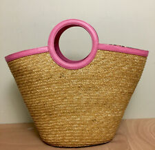 LILLY PULITZER LARGE Wicker Straw Basket Tote Purse Bag! Pink Trim