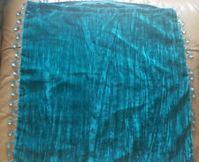 2 x Teal Cushion Covers with Peardrop Jewel Embellishments Velvet Texture