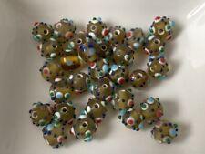 European Beads senf grün gemustert Anhänger Glas Lampwork 8 mm 30 Stück B77