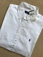 RALPH LAUREN WHITE COTTON CLASSIC S/S SHIRT TOP USA MODEL - SMALL - NEW & TAGS