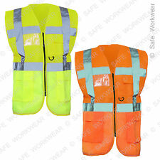 Personalised HI VIS EXECUTIVE VEST Safety Waistcoat with Multi pocket