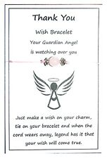 2 x Wish String Bracelet or Anklet - Thank You Guardian Angel - Rose Quartz W008