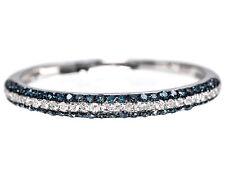 10k Womens White Gold Blue/white Diamond Pave Fashion Wedding Band Ring