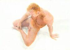 NUDE male BRETT Beasley watercolor 1/33/50 Esteban Realism FREE SHIP
