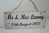 RUSTIC PERSONALISED Wedding Mr and Mrs Sign. Printed Wooden Sign Shabby White R1